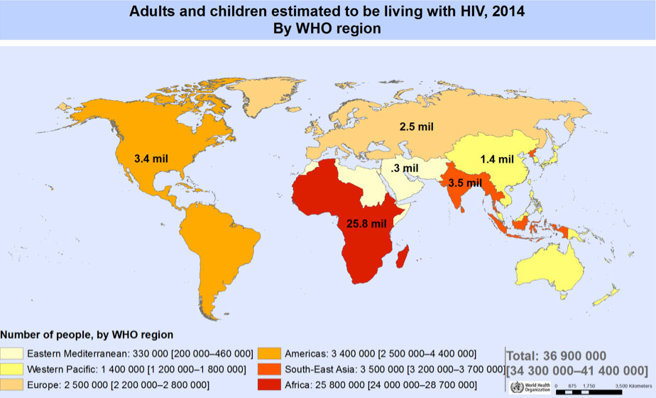 Map of people with HIV